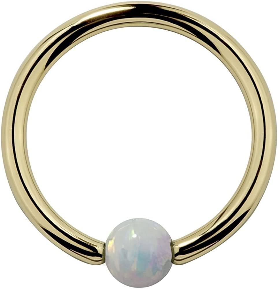 18G 7//16 Dark Blue Cubic Zirconia Round 14K Yellow Gold Captive Bead Ring