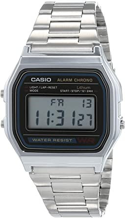Casio A158WA - Reloj unisexo, correa de acero inoxidable color ...