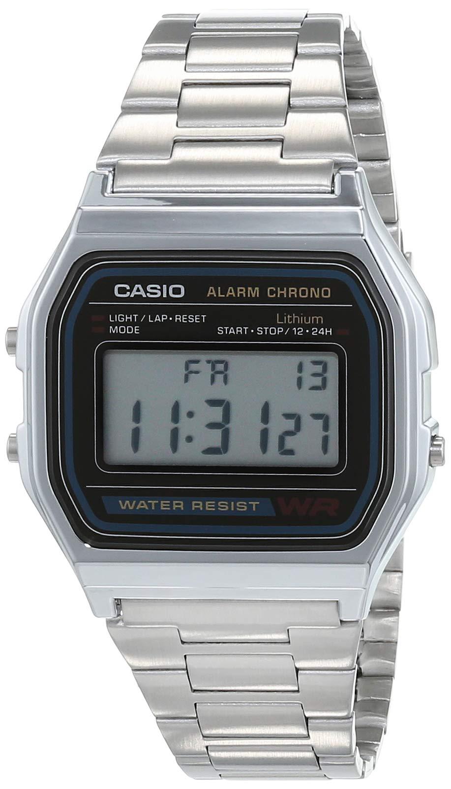 Casio A158WA - Reloj unisexo, correa de acero inoxidable color plateado product image