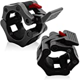 "2"" Olympic Barbell Collars (Pair) - Solid Nylon Locking Clamps with Quick Release Secure Snap Latch - Great for CrossFit, OHP, Squats, Deadlifts, Cleans, Snatches by SPORBO SPORTS"