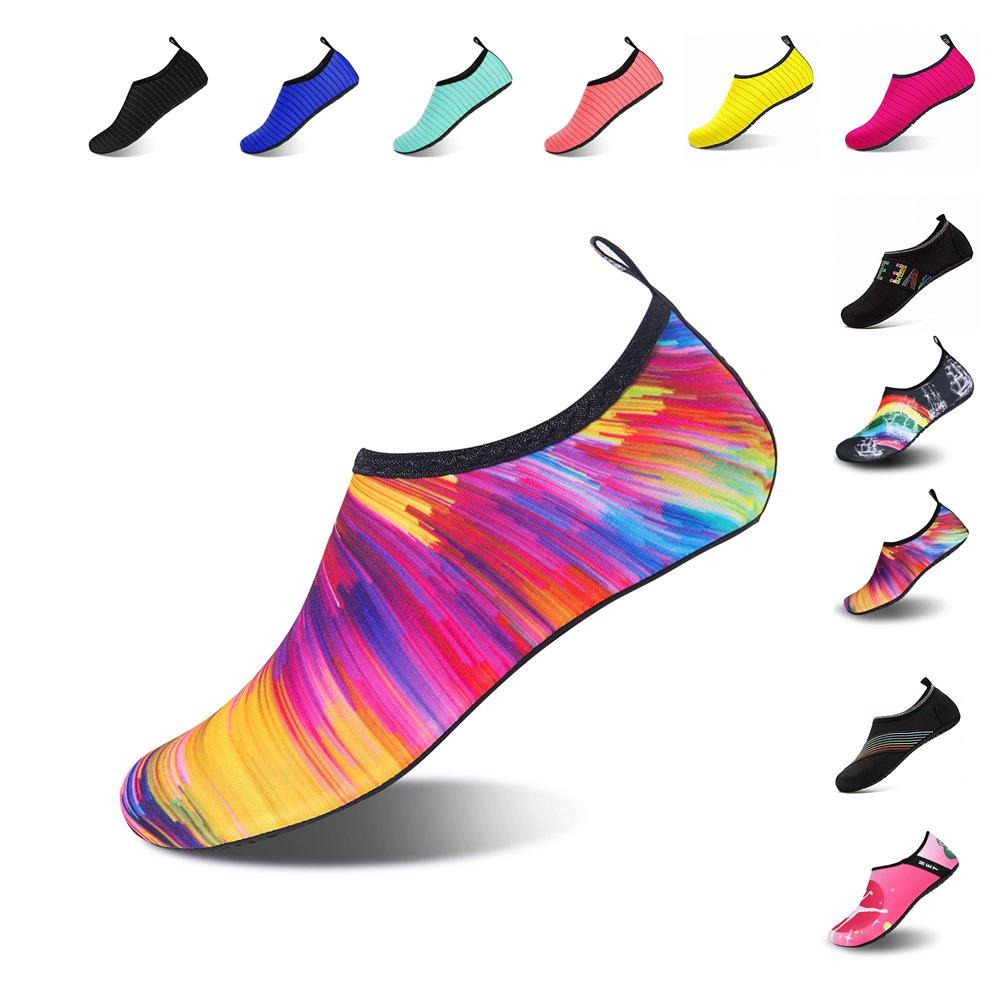 Ningmeng Mens Womens Water Shoes Barefoot Beach Pool Shoes Quick-Dry Aqua Yoga Socks For Surf Swim Water Sport (colorful, 38/39EU)