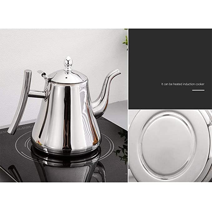 Hervidor JXLBB Tetera de Acero Inoxidable Cocina de inducción Restaurante de Fondo Plano Té Restaurante con Filtro Calentador de té casero Calentador Salida ...