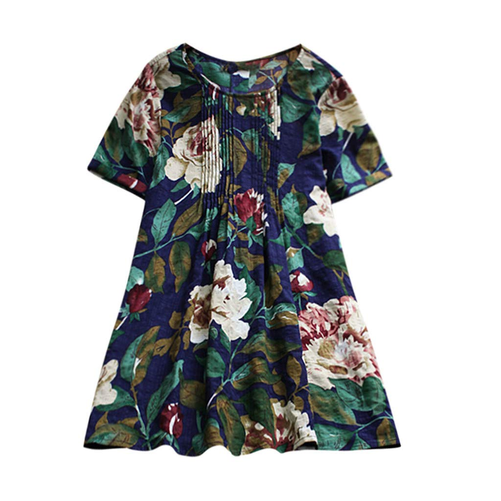 Clearance Sale S-3XL Plus Size Short Sleeve Blouse Womens Casual Loose O-neck Flower Print T-shirt Tunic Tops