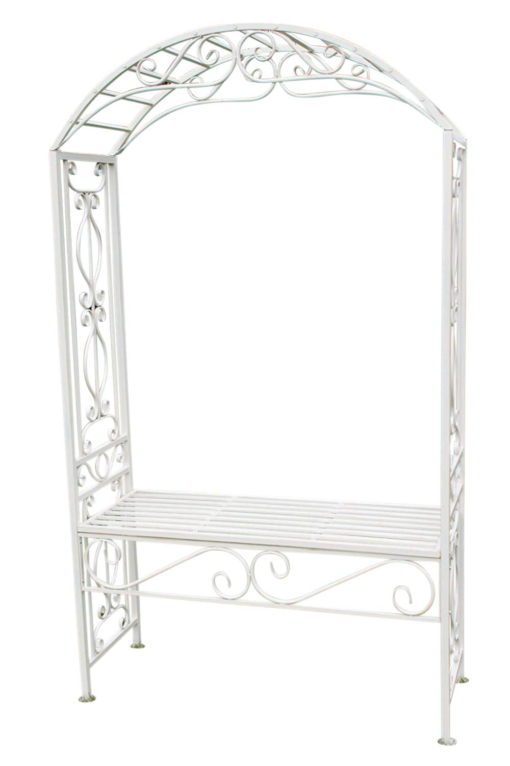 Olive Grove Versailles Style Metal Rose Arch and Seat in Antique White Finish