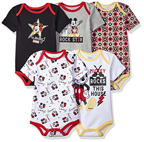 Disney Baby Boys' Mickey 5 Pack Bodysuits, Multi/Anthracite Black, 12M