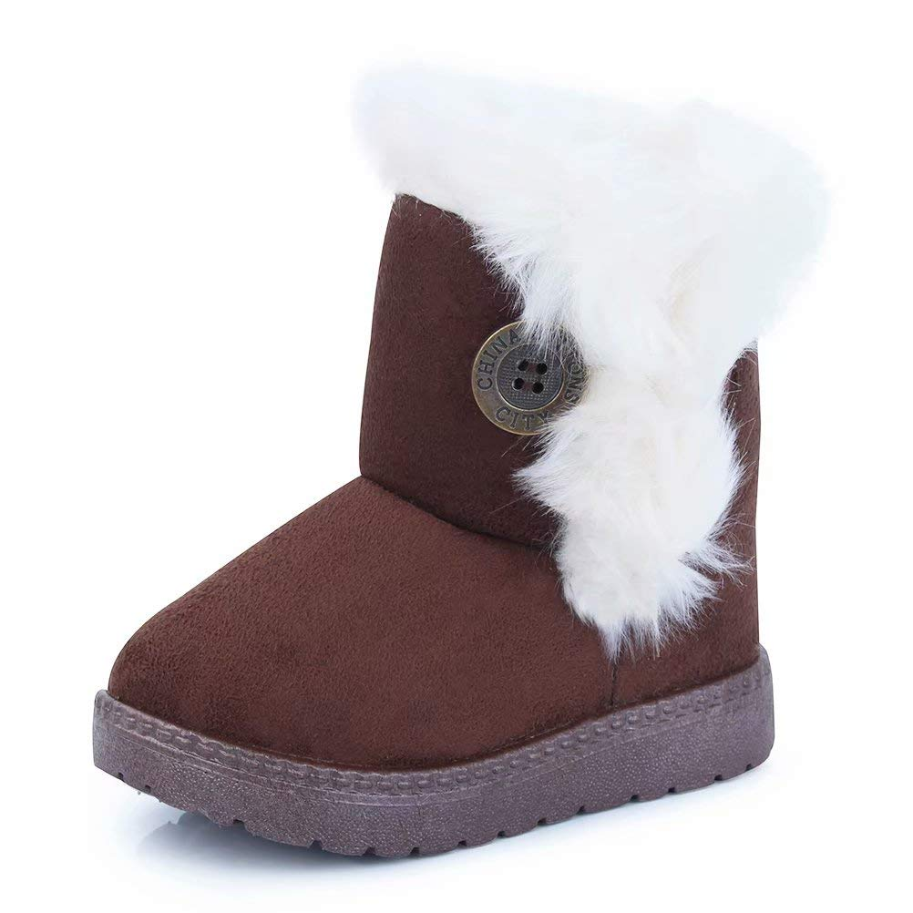 CIOR Fantiny Toddler Snow Boots for Baby Girl Fur Outdoor Slip-on Boots (Toddler/Little Kids) TX-nk-coffee26