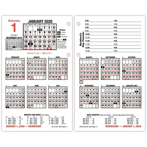 AT-A-GLANCE 2020 Desk Calendar Refill, 4-1/2