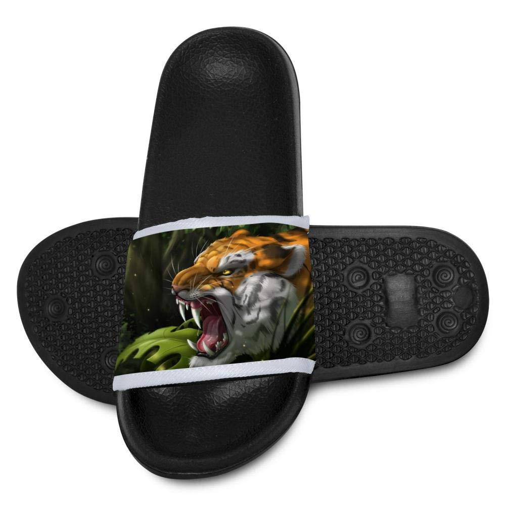 Gujigur Fantasy Roaring Tiger Slippers for Boy Girl Casual Sandals Shoes Creative 3D Printed Graphic Hipster Design