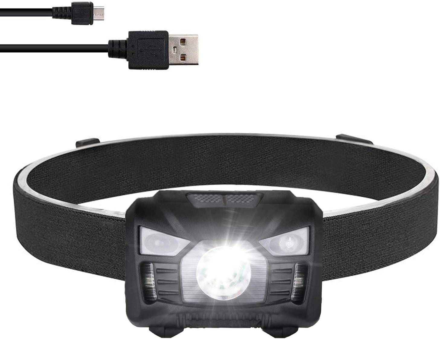 three trees Rechargeable Headlamp LED Flashilght – high Lumen,Brightest White Cree LED with RedLight,5 Modes for Walking,Waterproof,with USB Cable Directly,Adjustable Headband,Batteries Included