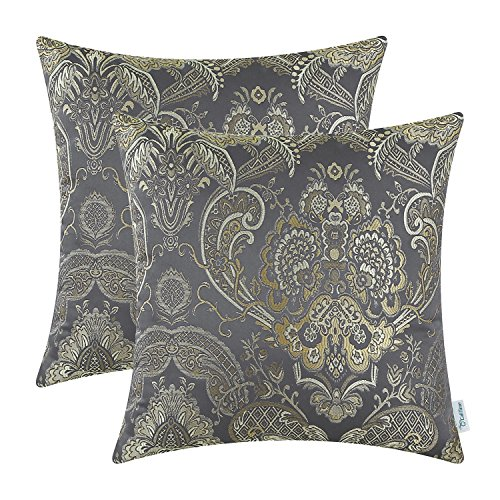 CaliTime Pack of 2 Supersoft Throw Pillow Covers Cases for Couch Sofa Home Decor Vintage Damask Floral 18 X 18 inches Grey