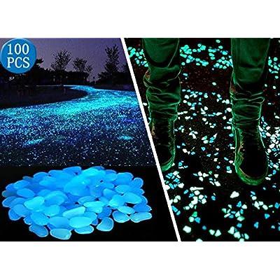 Opps 100 Pcs Glow in The Dark Garden Pebbles for Walkways and Decor in Blue : Garden & Outdoor