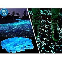 100pcs Jardín, brilla en la oscuridad Guijarros para pasarelas y decoración en azul