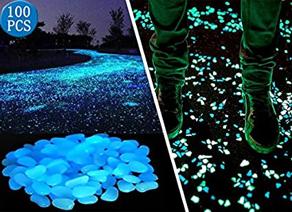 opps 100 pcs glow in the dark garden pebbles for walkways and decor in blue - Glow In The Dark Garden Pebbles