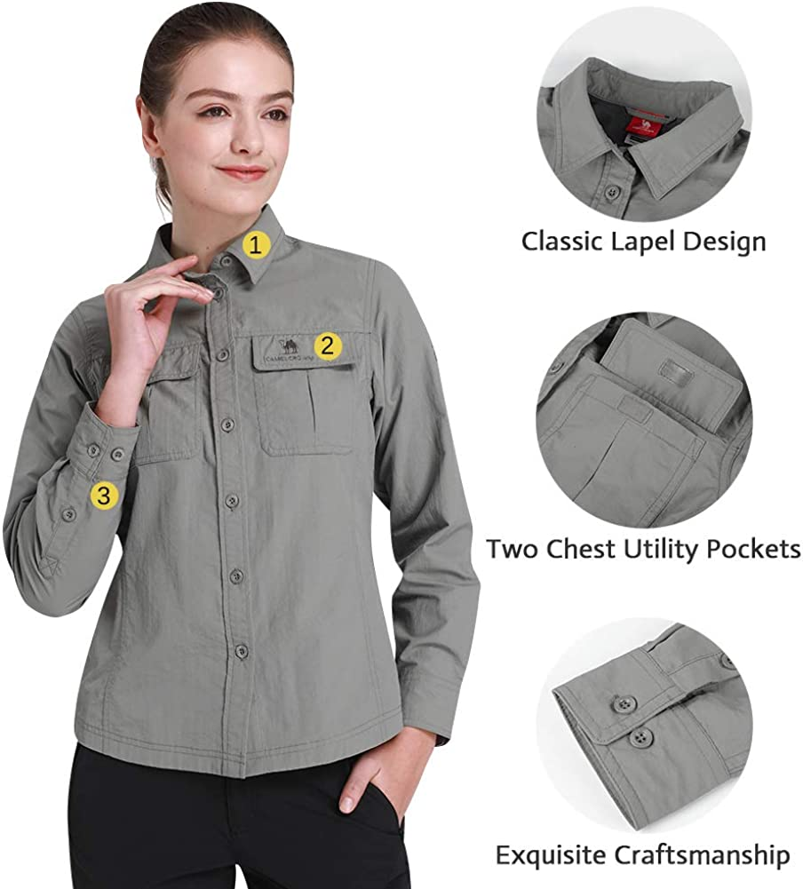 CAMEL CROWN Quick Dry Shirt Men Women Long Sleeve Roll-Up Shirts with UV Protection for Work Outdoor Hiking Fishing Camping