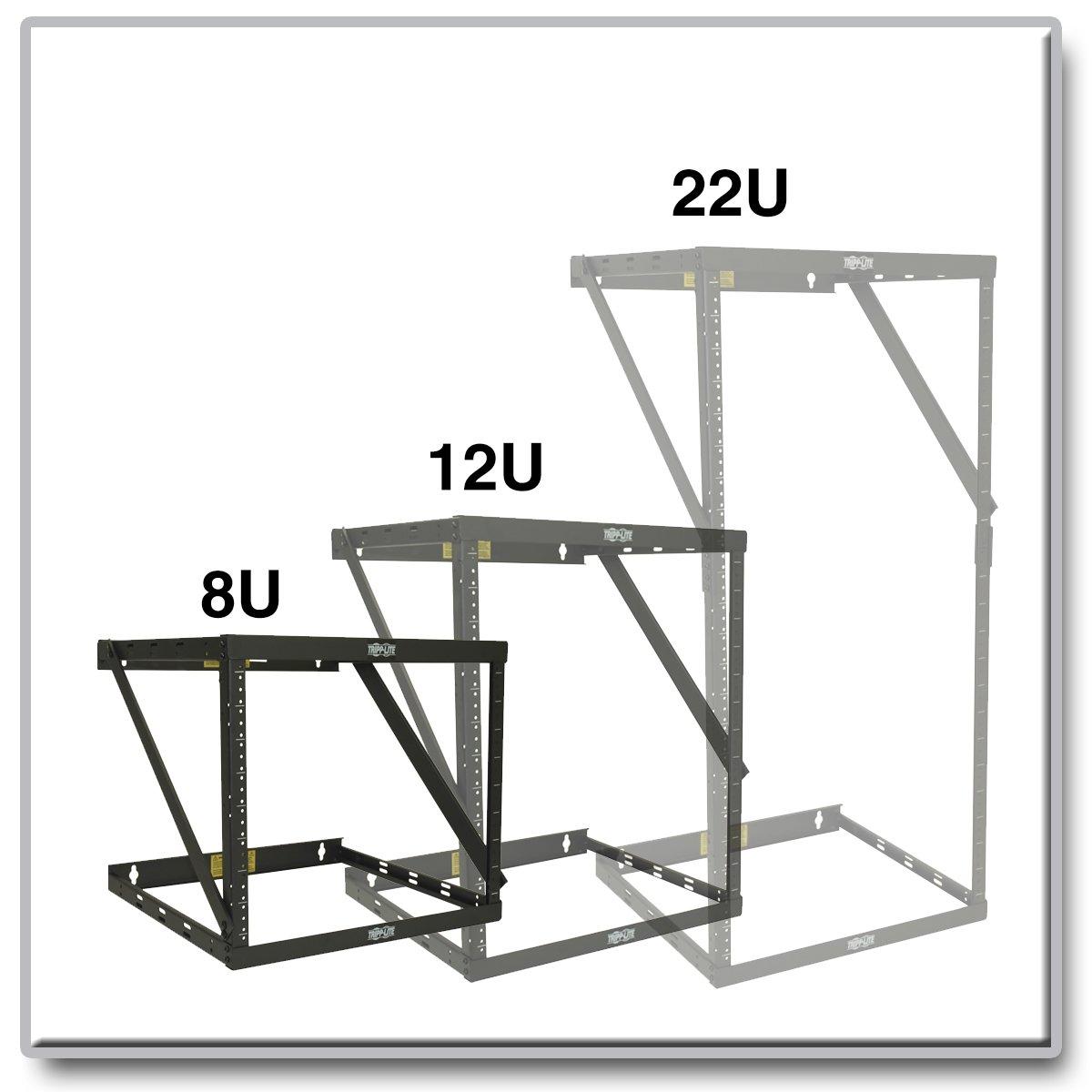 Tripp Lite 8U/12U/22U Expandable Wall-Mount 2-Post Open Frame Rack, Adjustable Network Equipment Rack, Switch Depth, 18'' Deep (SRWO8U22) by Tripp Lite (Image #4)