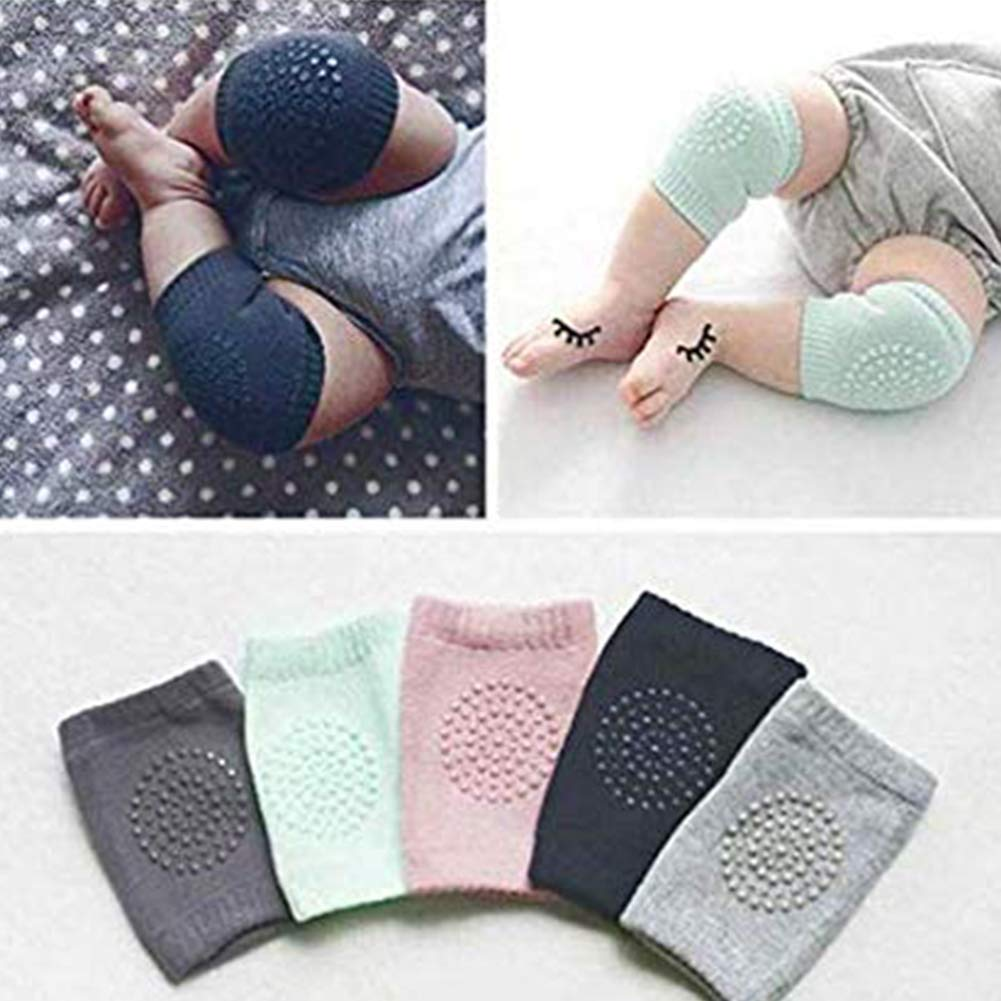 5 Pairs Baby Knee Pads,Non-Slip Knee Guards Sports Protective Gear Socks,Elastic Cotton Leg Elbow Knee Guards Covers for Boys Girls Baby Knee Pads for Crawling
