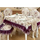 European-style dragon and feather dance lace trim square tablecloth thicker wearable durable tablecloth-C diameter180cm(71inch)