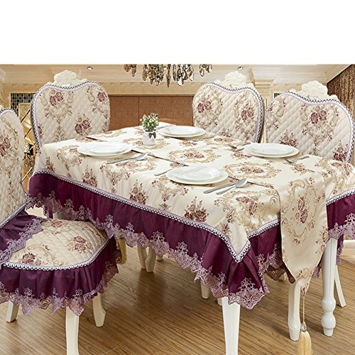 European-style dragon and feather dance lace trim square tablecloth thicker wearable durable tablecloth-C diameter180cm(71inch) by Ren&Yang (Image #1)