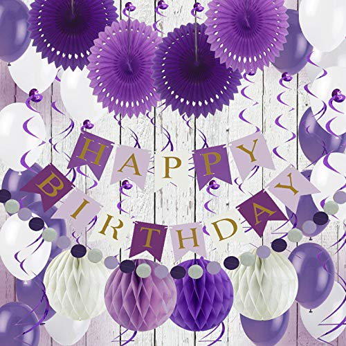 Air Fit Purple and White Birthday Party Decorations