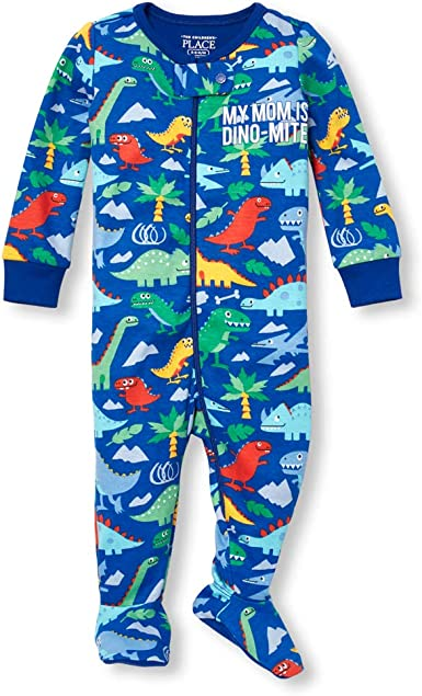 The Childrens Place Baby Boys Graphic Long Sleeve Footed Bodysuit