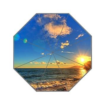 ellisko atardecer por el mar resistente a los rayos UV paraguas personalizados de la de los