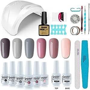 Vishine Gel Nail Polish Starter Kit - 48W LED Lamp 6 Color & Base Top Coat Set, Manicure Tools Popular Nail Art Designs #06