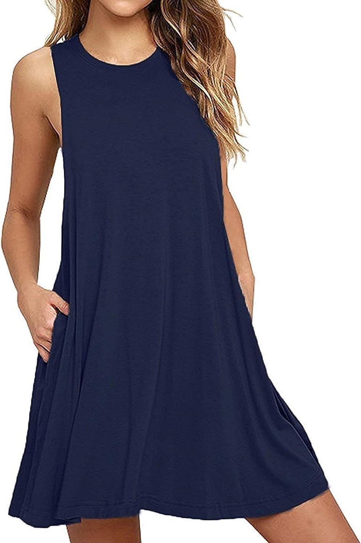 BISHUIGE Women Summer Casual T Shirt Dresses Beach Cover up Plain Tank Dress
