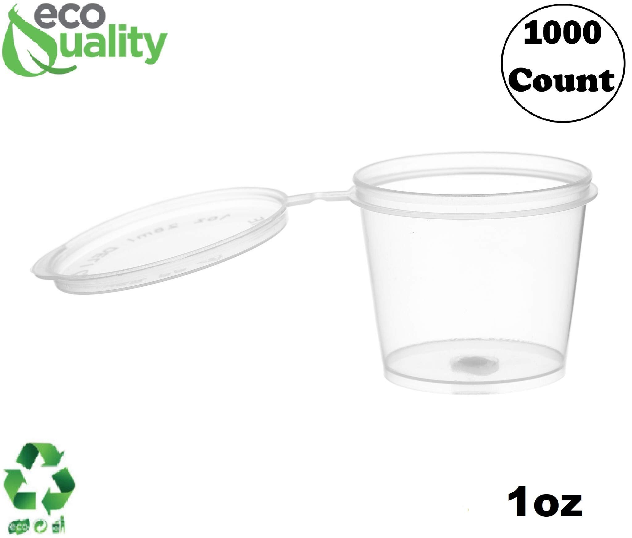 EcoQuality [1000 Pack] 1 Oz Leak Proof Plastic Condiment Souffle Containers with Attached Lids - Portion Cup with Hinged Lid Perfect for Sauces, Samples, Slime, Jello Shot, Food Storage & More! by EcoQuality
