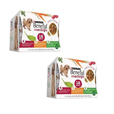 23fa9ad3ad7 Amazon.com : Purina Beneful IncrediBites Adult Wet Dog Food Variety Pack ( Medleys Tuscan, Romana & Mediterranean Style, 2 Pack (12 cans, Each 3 oz.