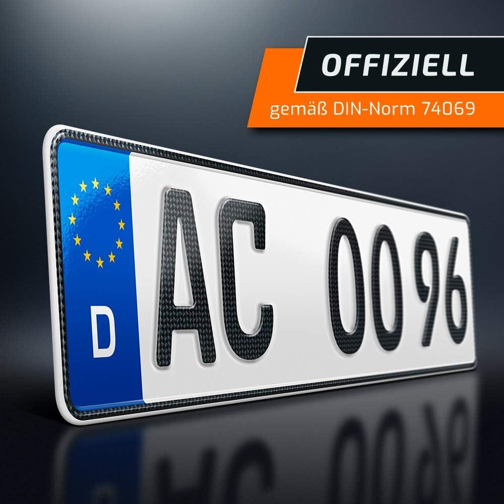 Autokennzeichen schildEVO 1 Carbon Kfz Kennzeichen EU Wunschkennzeichen mit individueller Pr/ägung DIN-Zertifiziert 470x110 mm OFFIZIELL amtliche Nummernschilder