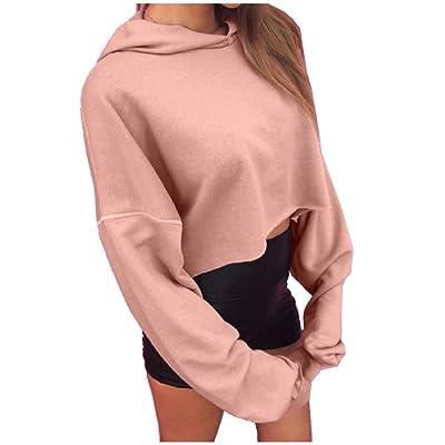 Abetteric Women's Crop Top Long Sleeve Pink Hooded Sweatshirts Outwear