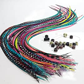 Feather Hair Extensions, 100% Real Rooster Feathers, Long Rainbow Colors, 20 Feathers with 20 Beads and 1 Loop Tool Kit…
