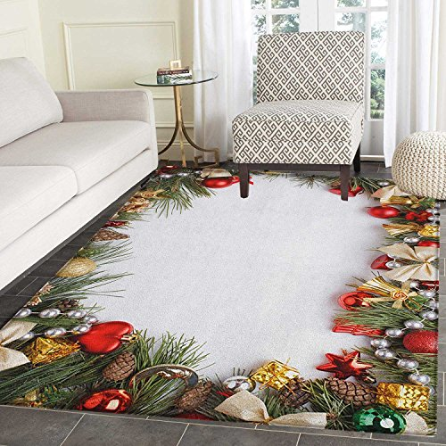 Christmas Area Rug Carpet Dressed New Year Tree Bedizen Garnished Fir Needles Spruce Yuletide Border Print Customize Door mats for Home Mat 3'x5' Multicolor