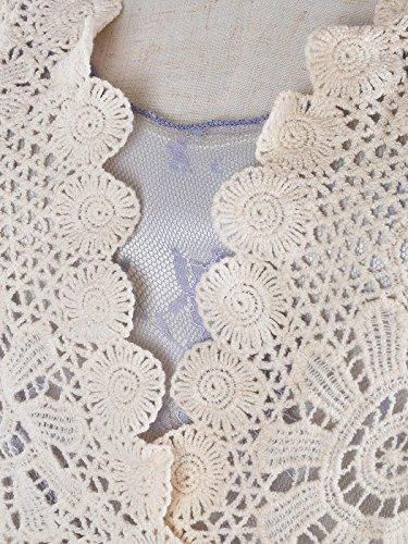 ganchillo encubrimiento flor Kaci vestido del de de vendimia punto dos el Azul cordón mujeres 1920 piezas mangas gastby Anna del de hizo la rizado dXU5wqqF