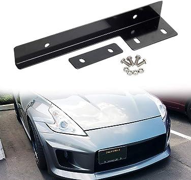 JDMSPEED Universal Black Front Bumper License Plate Mount Bracket Relocator Holder Bar