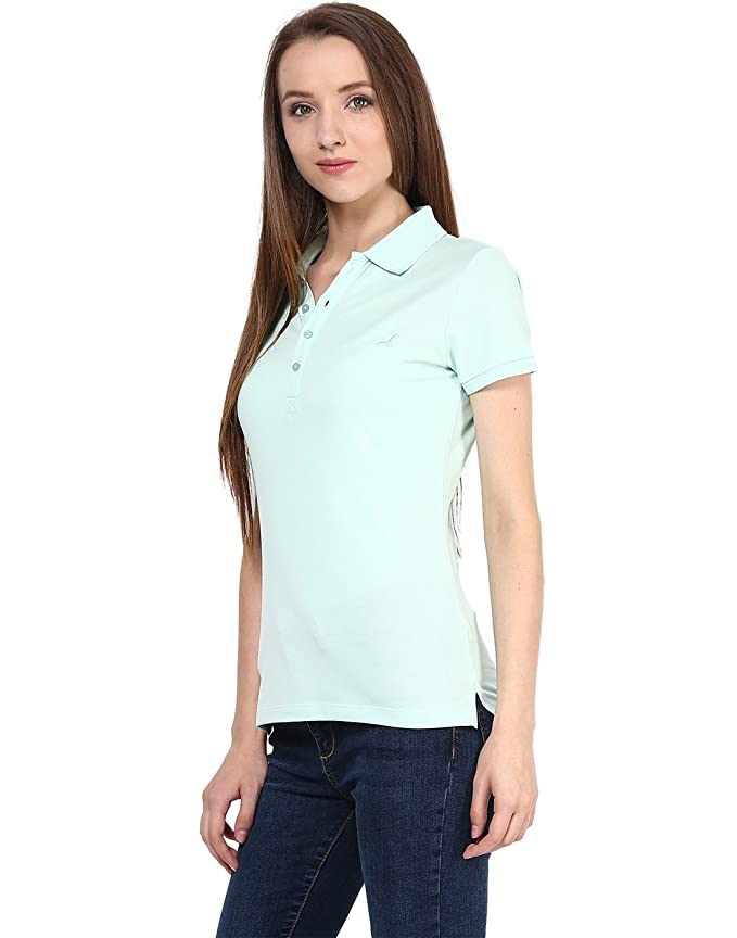 1dcc4bbfe7e4e AMERICAN CREW Women s Polo Collar Solid Light Blue T-Shirt - XL  (ACW702-XL)  Amazon.in  Clothing   Accessories