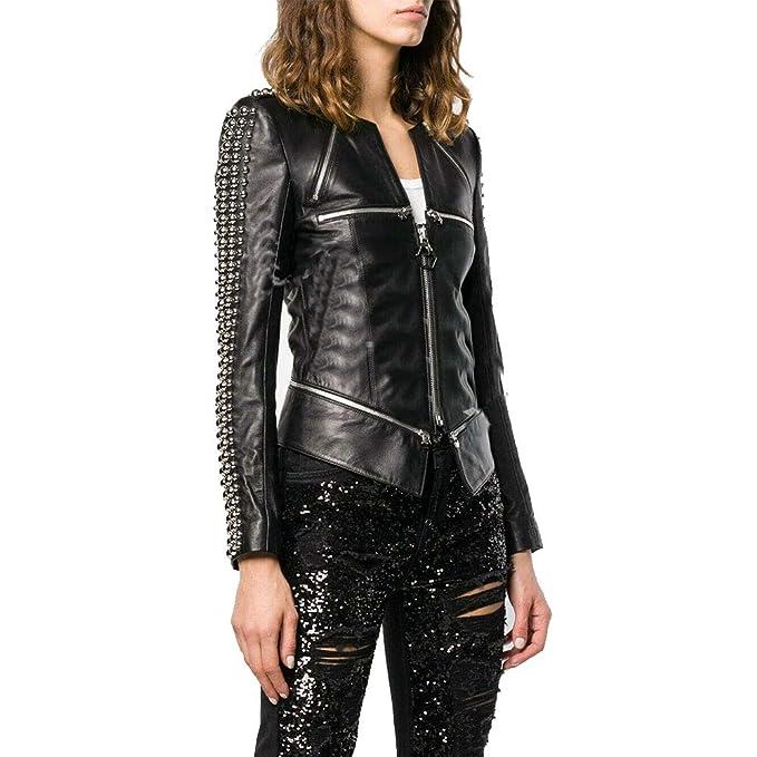 Knoxville Mall Damen Biker Lederjacke, schwarz, rundherum