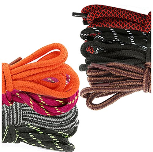 DailyShoes Round Hiking Boot Shoelaces Strong Durable Stylish Shoe Laces Panacea Lindsay , (Great for Bowling Shoes) Black Dark Grey 36″ inch (91 cm), (8 PAIRS PACK)