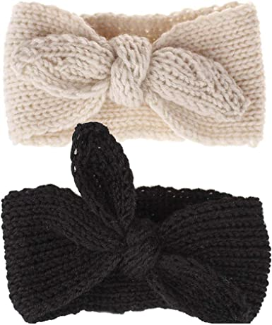 New Baby Kids Toddler Girl Warm Hair Band Bow Headband Crochet Knit Ears Wrap