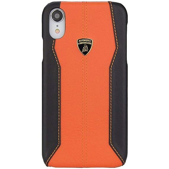 Lamborghini Huracan,D1 Leather Back Cover Case for iPhone XR (Orange)