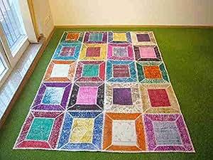Alfombra en patchwork multi 157 171x232 cm hogar - Alfombras dormitorio amazon ...