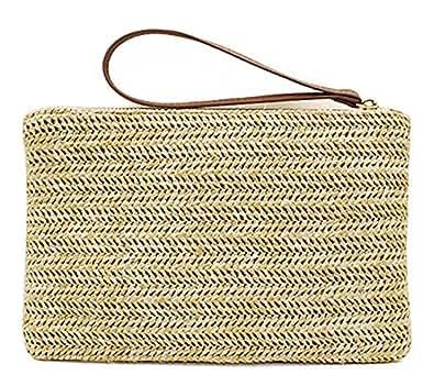 Hycurey Straw Zipper Clutch Bag Bohemian Wristlet Womens Summer Beach Sea Purse and Handbag Beige Size: Small