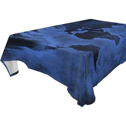 Amazon com: imobaby Jennifer Dark Blue World Map Tablecloth
