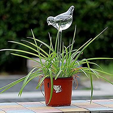 Dealglad® Bird Shape Clear Glass Self Watering Garden Sprinklers Automatic Waterer For Plant Flower