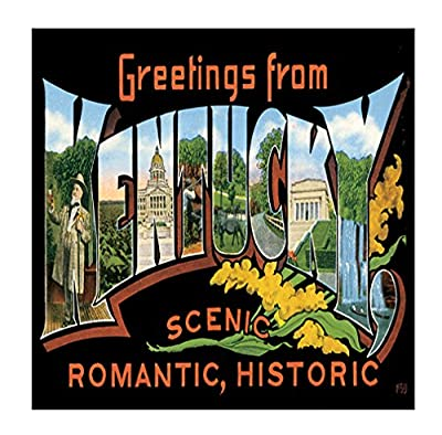Greeting From Kentucky #2 Sandstone Coasters Square Set of 4