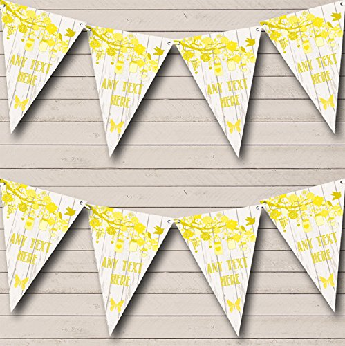 Shabby Chic Vintage Wood Yellow Personalized Engagement Party Bunting Banner