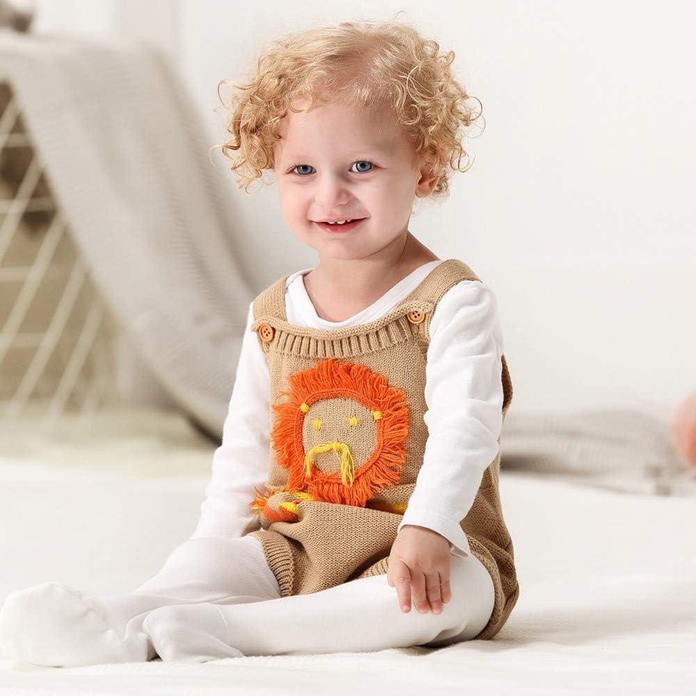 KONFA Toddler Infant Baby Girls Boys Cartoon Lionet Knitted Rompers,Kids Sleep n Play Soft Jumpsuit Clothing Set