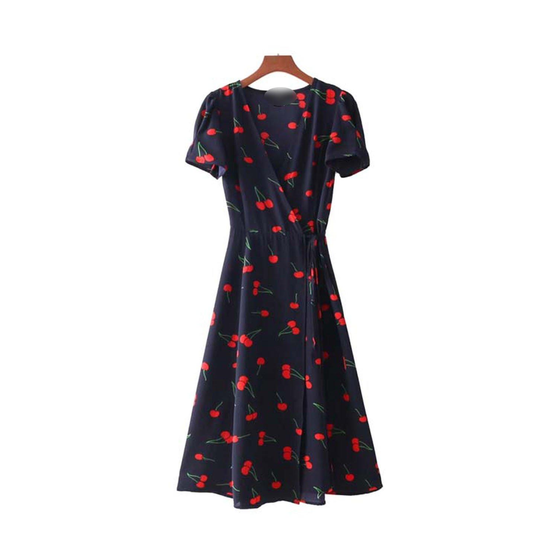 0d1d995f20683 Vintage V Neck Floral Pattern midi Dress Sashes Cross Design Short ...