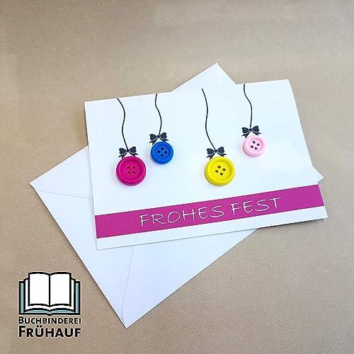 Weihnachtskarten Mit Knöpfen.Weihnachtskarte Mit Knöpfen Pink Oder Rot Amazon De Handmade