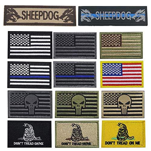 Bundle 14 Packs USA Flag Patches Thin Blue Line Tactical Military Morale Velcro Patch Set Morale Patches Set for Caps,Bags,Backpacks,Tactical Vest,Military Uniforms (color2)